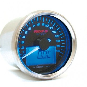 Koso D55 RPM / Temp - Black Face / Blue Back Light