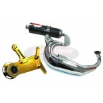 PM Tuning Gilera Runner/Italjet Dragster 125cc - 180cc Centre Exit X-Tech Chrome Expansion Chamber Exhaust With TSAB